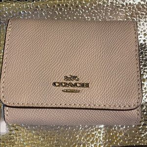 Coach Small Trifold Wallet Taupe NWT